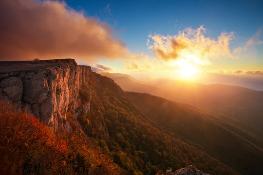 Beautiful mountain landscape in autumn time during sunset. Composition of nature