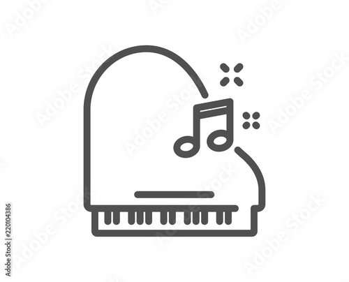 Piano Line Icon Musical Instrument Sign Music Note Symbol Quality