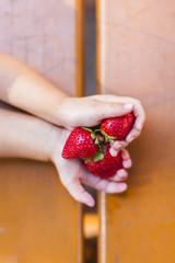 Child holding fresh strawberries in hand. Kind hält frische Erdbeeren in Hand.