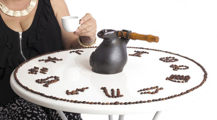 drawing of coffee beans on a table isolated on a white background
