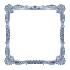 Silver square frame with Baroque pattern, watercolor painting on white background, isolated.