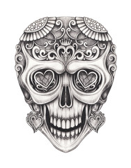 Art Sugar Skull Day of the dead. Hand pencil drawing on paper