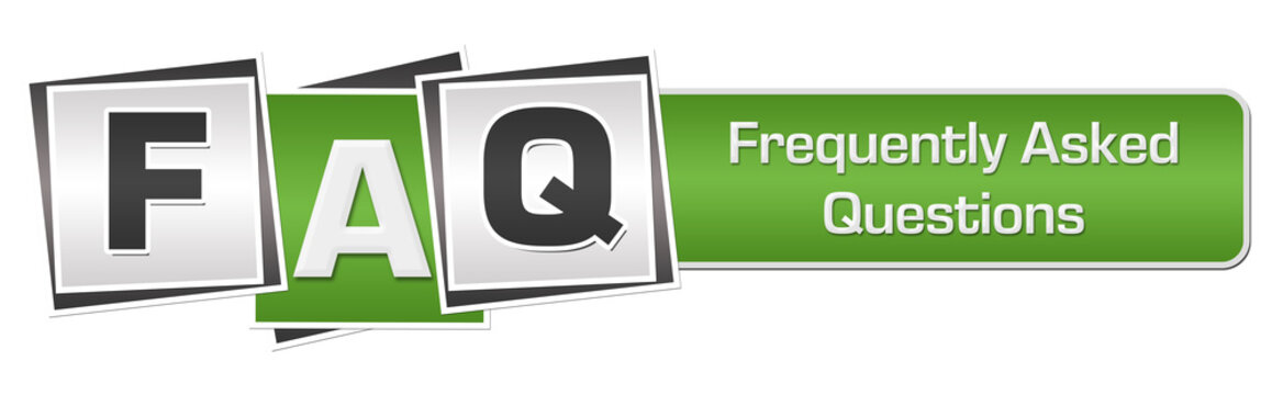 FAQ - Frequently Asked Questions Green Grey Squares Bar