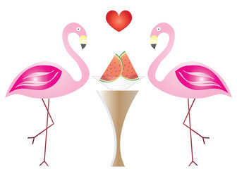 two flamingos in love eating watermelon fruits vector - Valentines day illustration