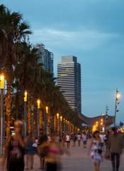 Evening embankment in Barcelona