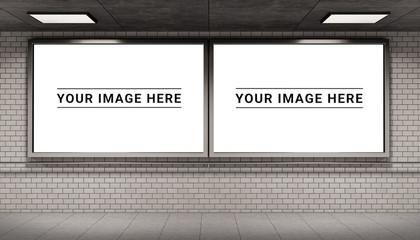 Two billboards frames in underground tube station mockup 3D rendering