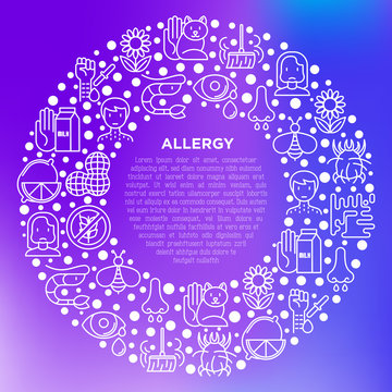 Allergy concept in circle with thin line icons: runny nose, dust, streaming eyes, lactose intolerance, citrus, seafood,gluten free, dust mite, allergy test. Vector illustration, print media template.