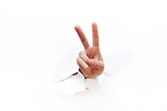 Hand victory sign. Gesture isolated on white background. Sign of gestures. It is ok concept.