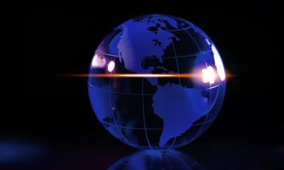 Glass globe ball on background