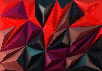 Polygonal abstraction of modern art, a panel of triangles. 3D rendering