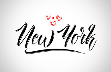 new york  city design typography with red heart icon logo Wall mural