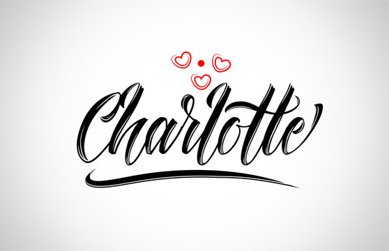 charlotte city design typography with red heart icon logo