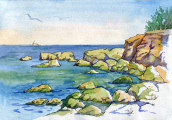 Beautiful watercolor landscape. View of the sea, rocky beach, and seashore. Sevastopol, Crimea.