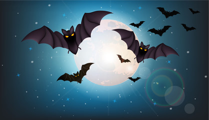 Bats flying at night Vector. Full moon. Halloween concepts