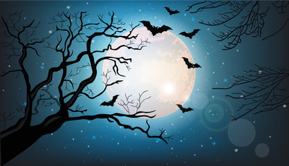 Tree branches silhouette and bats flying at night Vector. Full moon. Halloween concepts