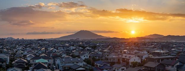 evening sunset cityscape mountain landscape Fukuoka city Japan HDR