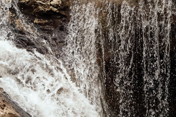 Close-up of a waterfall.  Background