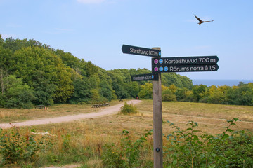Sign post, Skane, Nationalpark Stenshuvud, Sweden, Eagle