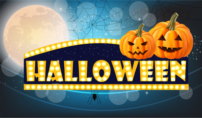 Halloween lights card with full moon and pumpkins Vector