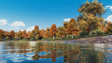 Tranquil woodland scenery with lush colorful autumn trees on the shore of calm forest lake or pond at clear autumnal day. With no people fall season 3D illustration.