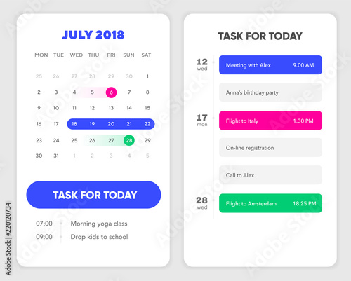 Calendar UI element  Calendar App With To Do List and Tasks