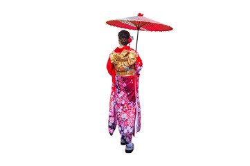 Wall Mural - Asian woman wearing japanese traditional kimono with umbrella on white background.