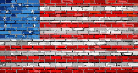 American Betsy Ross flag on a brick wall - Illustration,