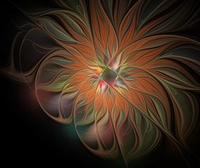 Abstract fractal autumn flower