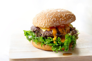 Hamburger on chopping board on color white background