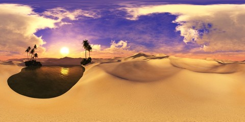 Sandy desert. Environment map. HDRI . equidistant projection. Spherical panorama. landscape.