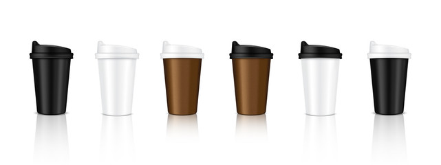 Mock up Realistic Coffee Cup Packaging Product with Black, White, Paper Brown Color Background Illustration