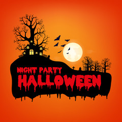Design of Halloween Night Party text for halloween day and card or background