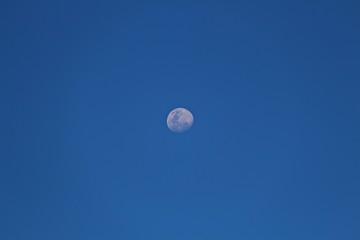 The day time moon in the middle of clear blue sky