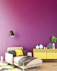 3d rendering,3d illustration,interior design for living area or reception in modern style with armchair, table,plant on wood floor and purple wall