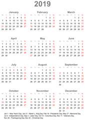 Einfacher Kalender 2019 mit gesetzlichen Feiertagen für die USA