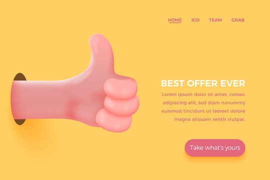 Vector site banner concept - cartoon 3d realistic like, thumb up hand, with place for your text and button. Offer landing page template.