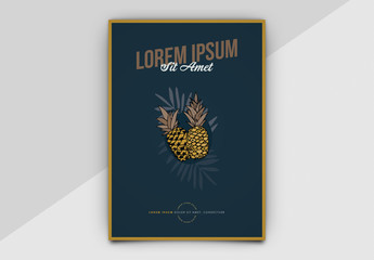 Event Poster Layout with Pineapple Illustrations