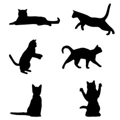 Set of black cat silhouette. cat sitting, walking, playing, different cats vector