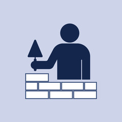 Brick layer tiler mason worker with trowe
