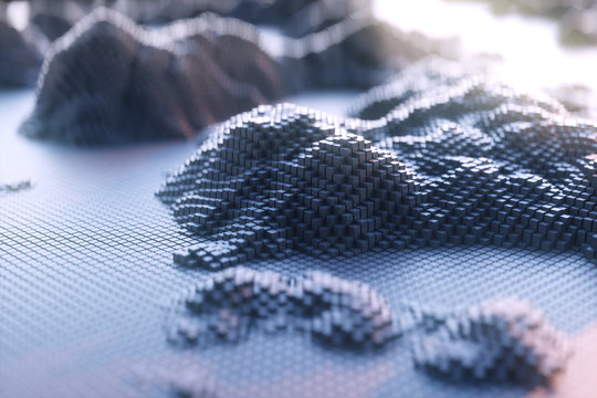 The mountains of voxel.Abstract black voxel background,cyberspace game city.  Futuristic technology background  ,3D illustration.