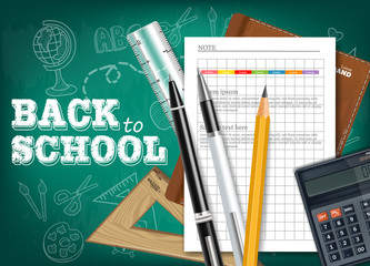 Back to school tools Vector realistic. Notes, calculator, pencils. Chalk board background. Detailed 3d illustrations