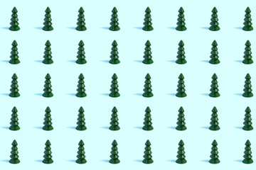 Pattern of small wooden Christmas trees