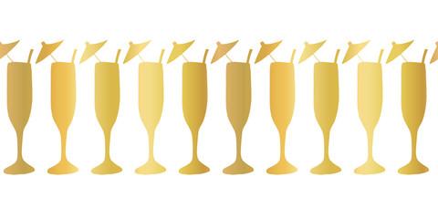 Gold foil champagne flutes seamless vector pattern border. Golden cocktail alcohol drinking glasses on white background. For restaurant, bar menu, summer party, celebration, wedding, birthday, invites