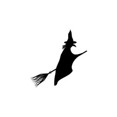 witch on a broomstick silhouette. Element of fairy-tale heroes illustration. Premium quality graphic design icon. Signs and symbols collection icon for websites, web design, mobile