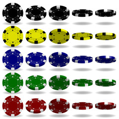 Poker chips vector. 3D realistic set. Flip different angles. Red, black, blue, green,yellow casino chips illustration. Colored poker game chips sign isolated on white background.