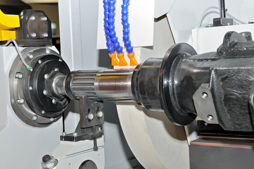 Metal detail in a spindle of the industrial lathe.