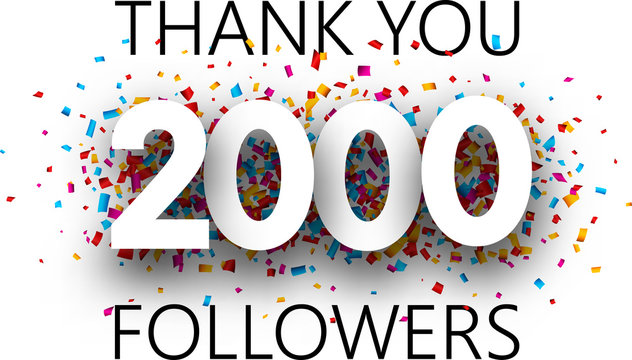 Thank you, 2000 followers. Poster with colorful confetti.