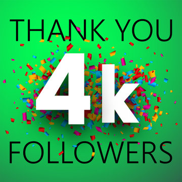 Thank you, 4k followers. Card with colorful confetti.