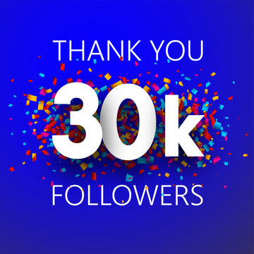 Thank you, 30k followers. Card with colorful confetti.