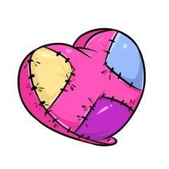 Broken heart unhappy love cartoon illustration isolated image